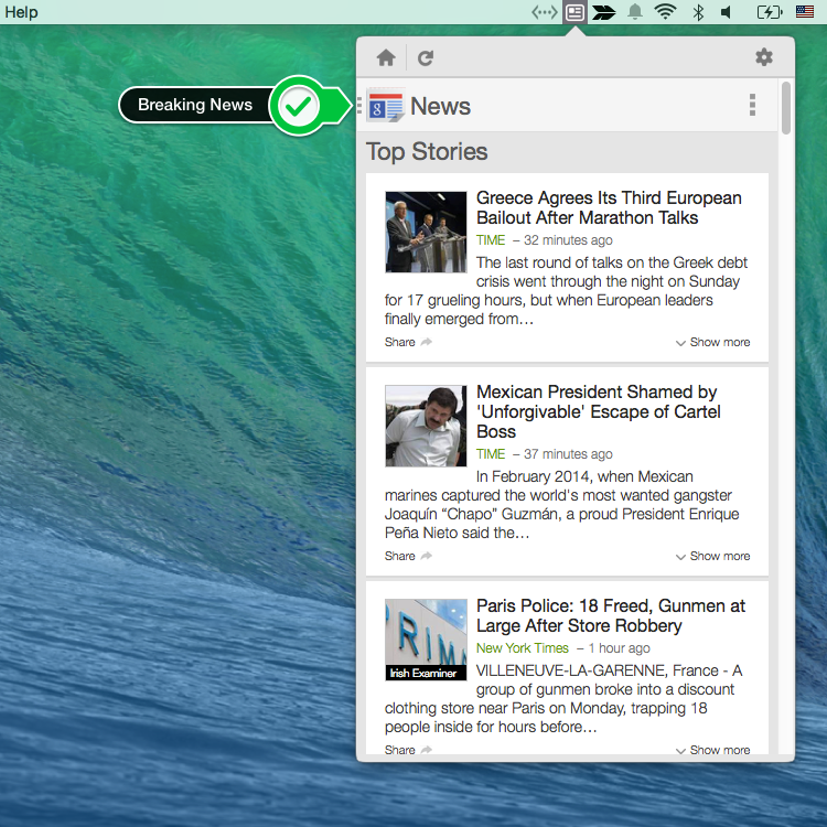 NewsHeadlines Mac Menu bar app for Google News