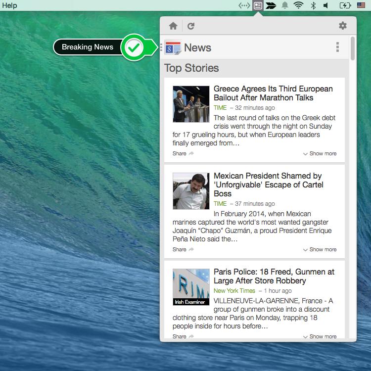 NewsHeadlines Mac Menu bar app for Google News