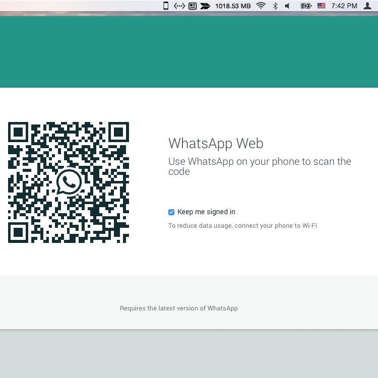Scan QR code with your phone to get whatsapp to mac