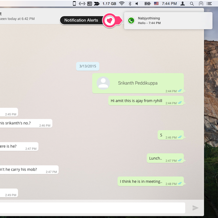 Message Alerts and can reply from your mac