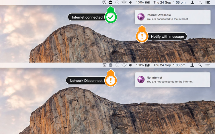 Status notify with message and icon in Mac Menu bar