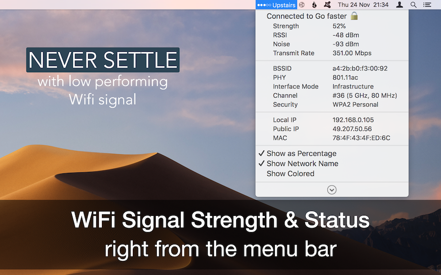 WiFi Signal Strength Status | AppYogi Software