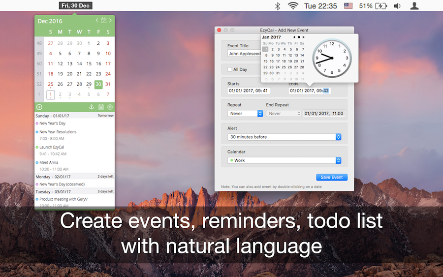 EzyCal - Calendar 2017 released for OS X - Get More Productive Image