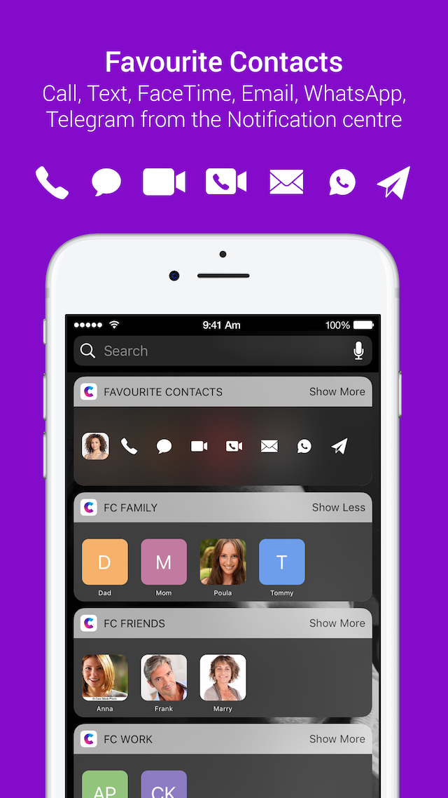 Favorite Contacts Launcher for iPhone | AppYogi Software