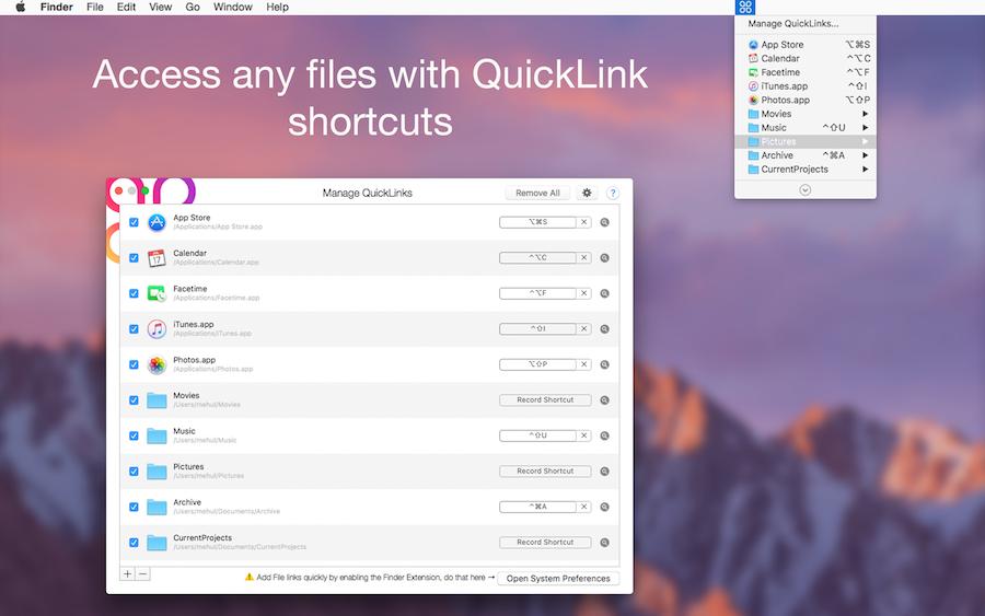 QuickLinks 2.4.1 Mac 破解版 键盘快捷方式自定义创建工具-麦氪派